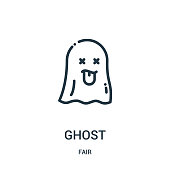 ghost icon vector from fair collection. Thin line ghost outline icon vector illustration. Linear symbol for use on web and mobile apps, logo, print media.