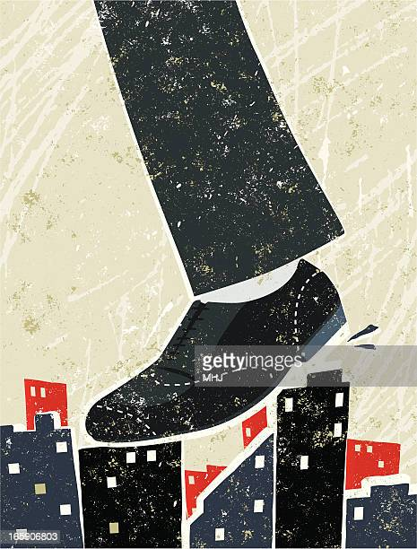 Giant Businessman's Foot Crushing City Skyline