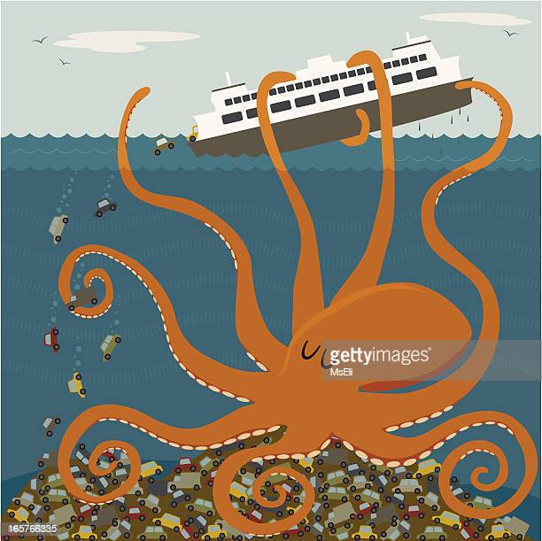 Giant octopus tipping a ferry