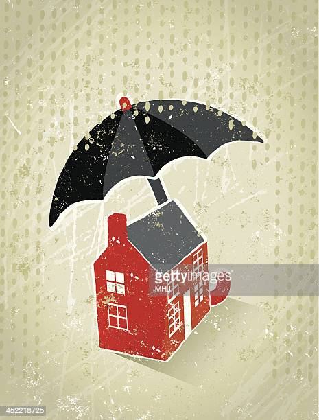 Giant Umbrella Protecting a Tiny house From the Rain
