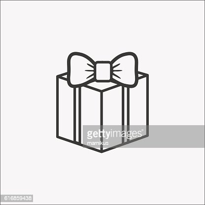 gift box icon with bow. : Vector Art