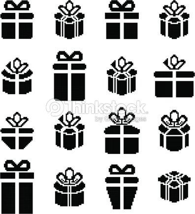 Pixel Art Noel Cadeau.Icônes De Pixel Boîte De Cadeau De Noël Cadeaux Clipart