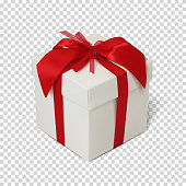Gift box with red ribbon and bow isolated on transparent background. Vector illustration.