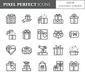 Gift boxes icons set with editable stroke - black outline transparent elements of wrapped and decorated with ribbon and bow close and open present packages isolated on white in vector illustration.
