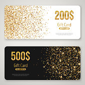 Gift Card Design with Gold Glitter Texture. Invitation Decorative Card Template, Voucher Design, Holiday Invitation. Glowing New Year or Christmas Backdrop. Certificate for Shopping.