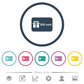Gift card with text flat color icons in round outlines. 6 bonus icons included.