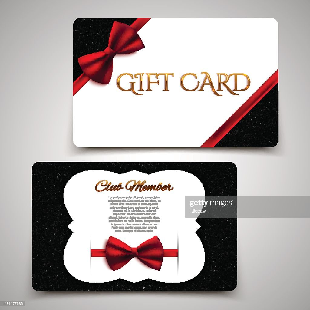 Gift Cards Vector Card Template, Club Member Card, Red Bow : Vector Art  Club Membership Card Template