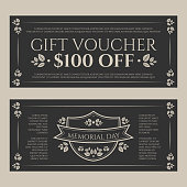 Gift certificate or card in vintage floral theme style dedicated Memorial day
