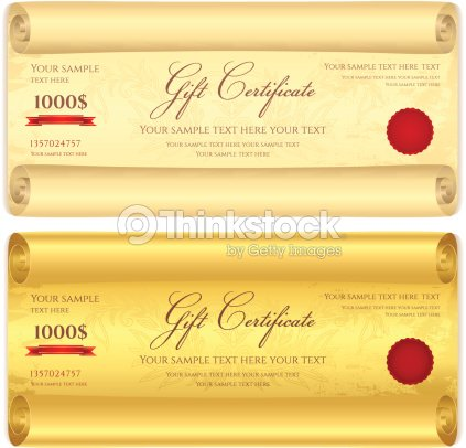 Gift Certificate Voucher Coupon Template Scroll Old Pattern Paper