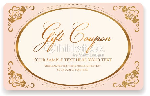Gift Coupon Discount Business Card Gold Floral Pink Frame Vector Art ...