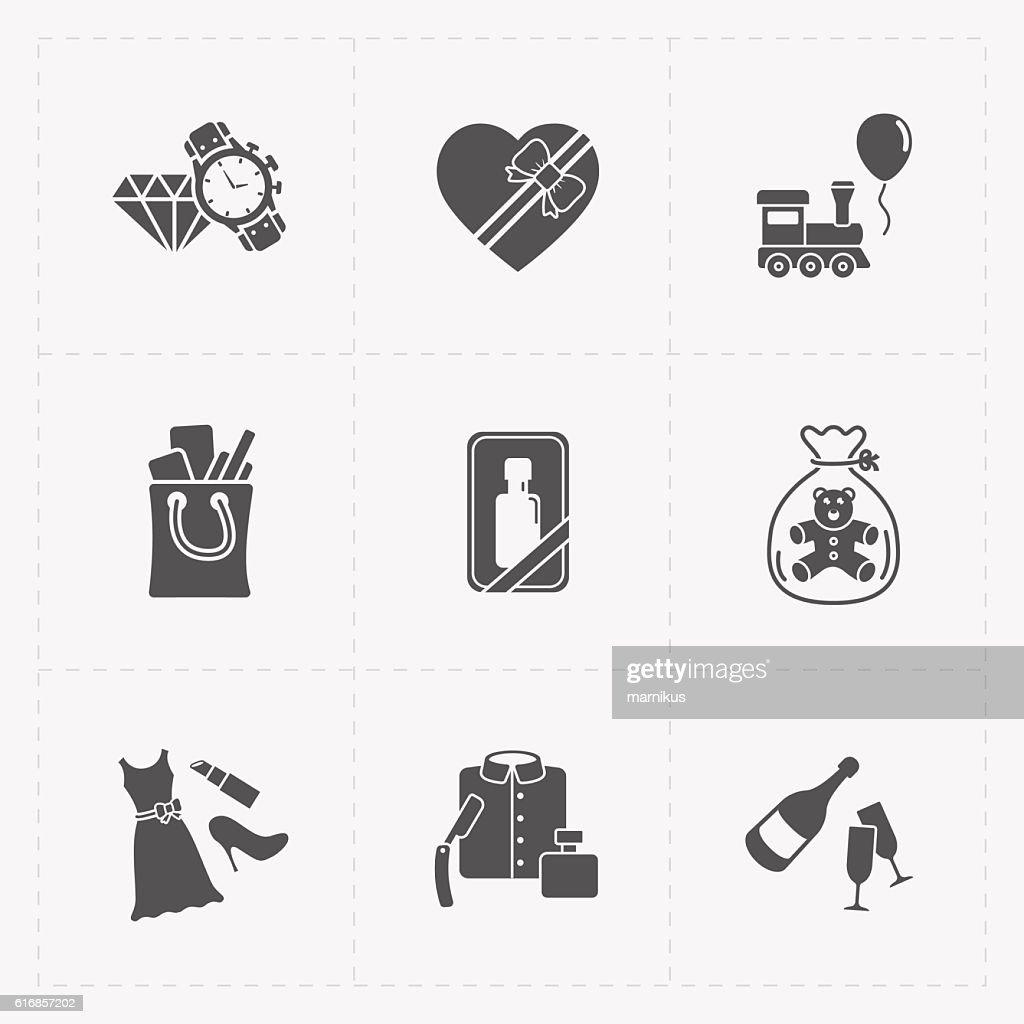 Gift flat black shop icon set on white : Vector Art
