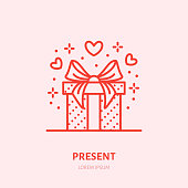 Gift in box illustration. Flat line icon, souvenir shop. Valentines day present sign.