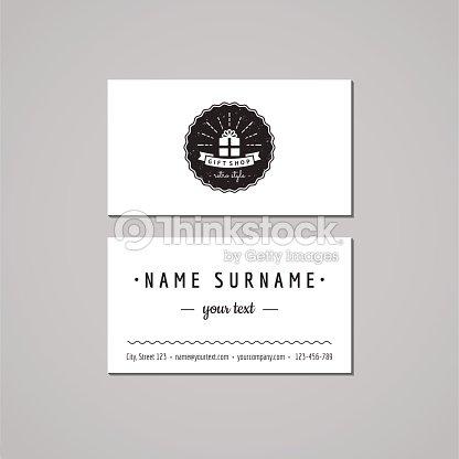 Magasin De Souvenirs Carte Visite Design Concept Logo Avec Coffret Cadeau Clipart Vectoriel