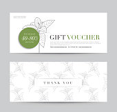 Gift Voucher flyer template for Spa, Hotel Resort, Botanic Pattern. Abstract Background Vector illustration