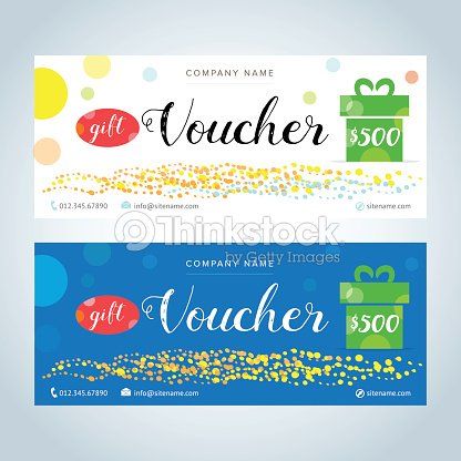 Gift Voucher Gift Certificate Coupon Template White And Blue Color