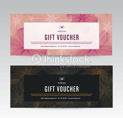 Gift Voucher Template For Spa Flower Spring Hotel Resort Vector