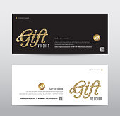 Gift Voucher Template Promotion Sale discount, Gold glitter background, vector illustration