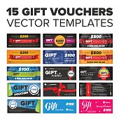 15 vector Gift vouchers set with ribbons and award icons