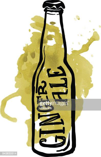 Ginger Ale soda pop label and bottle on watercolor