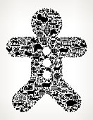 Ginger Bread Man Farming and Agriculture Black Icon Pattern