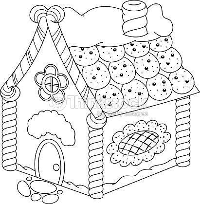 Gingerbread House Coloring Page Vector Art