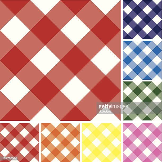 Gingham Checked Pattern Repeatable Background Tiles: Variety of Colors