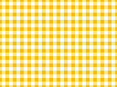 Gingham tablecloth seamless background pattern design in yellow and white.