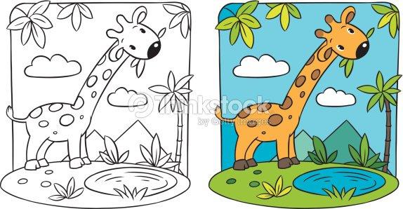 Giraffe Coloring Book Vector Art   Thinkstock