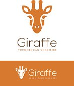 Giraffe head icon isolated on white and orange backgrounds. Can be used for your sign, symbol, emblem or label design template.