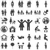 girl and boy icon on white background. Family set of icons