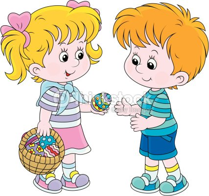 Girl And Boy On Easter Day Vector Art | Thinkstock
