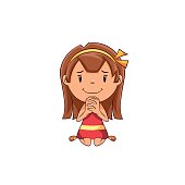 Child begging, cute kid, pleading, implore, pray, please, petition, sorry, gesture, kneel, help, hope, cartoon character, female, vector illustration, isolated, white background
