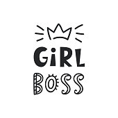 Girl boss card. Cute handwritten typography lettering with crown. Inspirational phrase. Geometric abstract background. T shirt, planner sticker, poster design. Vector illustration
