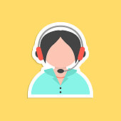 girl call center avatar sticker. concept of 24 hours client services, hotel reception, on-line shopping and communication. isolated on yellow background. flat style trendy modern vector illustration