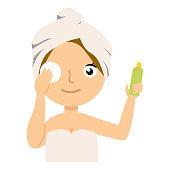 Girl character remove make up. Vector flat cartoon illustration flat eps 10