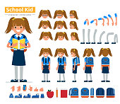 School girl character constructor for animation. Flat style vector illustration isolated on white background.