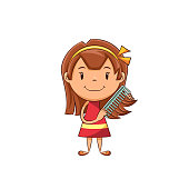 Child combing hair, cute kid, comb, girl, standing, long hair, beauty, care, untangle, happy cartoon character, young woman, person, vector illustration, isolated, white background