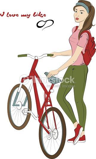 Femme cycliste pr s de v lo fille dessin la main clipart - Cycliste dessin ...