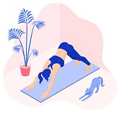 Fit girl doing downward facing dog pose at home with a stretching cat .  Isometric vector illustration