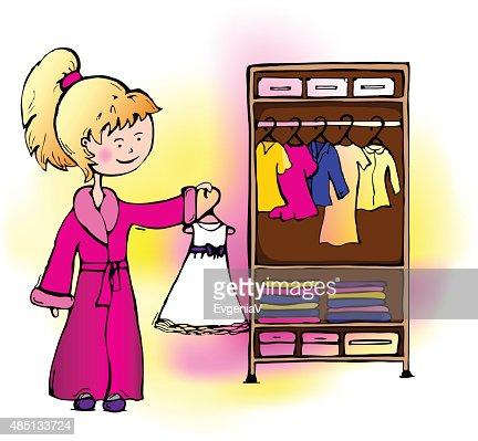 Kleiderschrank comic  Mädchen Kleid Kann Man Im Schrank Vektorgrafik | Thinkstock