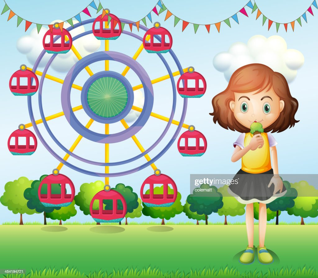 Girl eating an ice cream near the ferris wheel : Vector Art
