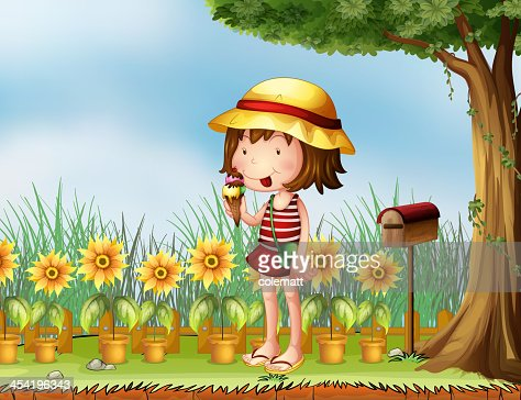 Girl eating beside a wooden mailbox : Vector Art