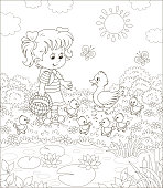 Little farmer and a duck with small ducklings among flowers by a pond with water-lilies on a sunny summer day, black and white vector illustration in a cartoon style