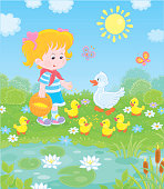 Little farmer and a white duck with small yellow ducklings among flowers by a pond with water-lilies on a sunny summer day, vector illustration in a cartoon style