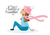 Fun lettering 'Hello winter' and cute girl character for your print and web design.