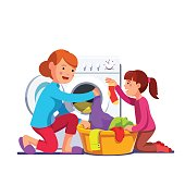 Girl kid helping mother sorting, loading laundry to washing machine from clothes basket. Mum and daughter doing housework chores together. Flat style vector illustration isolated on white background.