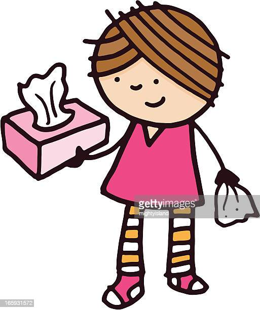 Girl holding a box of tissues