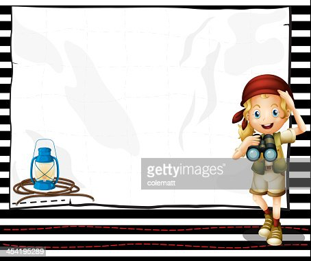 Girl holding telescope in front of an empty space : Vector Art