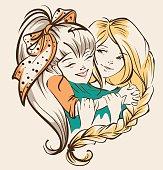 Girl hugging girlfriend. Two happy sisters. Vector cartoon illustration
