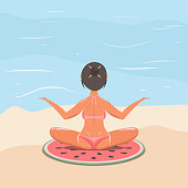 girl in a swimsuit on the beach doing yoga, sunbathing. vector illustration. woman by the sea or ocean.